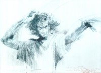 Charles Billich's sketch of Allan Zavod conducting - click to see an enlarged version of this image