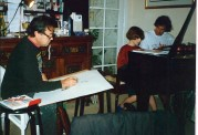 Charles Billich sketching 'The Composers' with Allan Zavod as the subject - click to see an enlarged version of this image