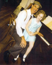 Allan Zavod (musical director) with Ashley Orr on the set of the Disney TV  movie 'Child Star - The Shirley Temple Story' - 2000 - click to see an enlarged version of this image