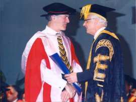 Dr. Allan Zavod receiving his diploma from Chancellor Hon Alex Chernov AO QC  (now Governor of Victoria) - click to see an enlarged version of this image