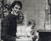 Zavod's blues turn to gold (Zavod with wife Christine and son Zak) - 1987 Newspaper article - click to see an enlarged version of this image
