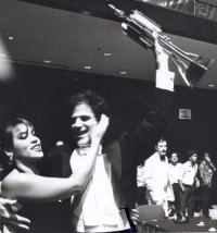Allan Zavod with Kate Ceberano after winning the 1987 Asian Popular Song contest
