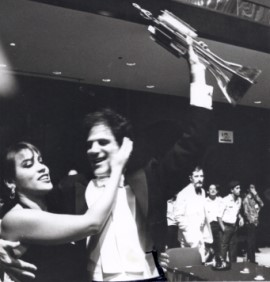 Kate Ceberano hugging Allan Zavod after winning The 1987 Asian Broadcasting Union Popular Song contest in Kuala Lumpur - click to see an enlarged version of this image